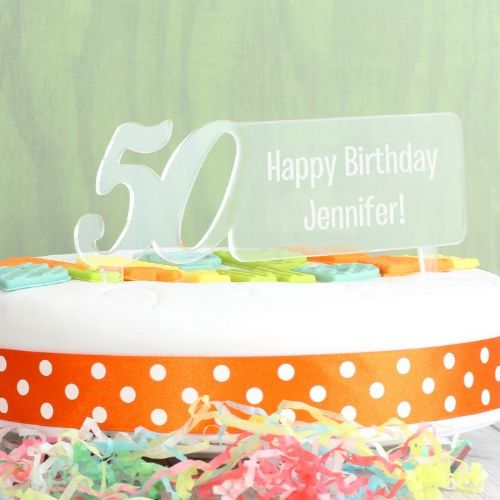 Personalised Acrylic 50th Birthday Cake Topper